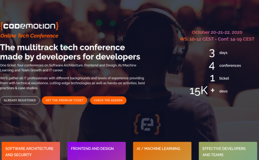 Codemotion online tech conference – October 20-22, 2020